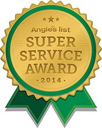 Graphic of the Angie's List Super Service Award, 2014. The award is gold in the middle with green ribbon.
